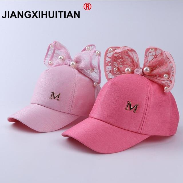 41e80f7e75518 Luxury Big Bow Fashion Summer Kids Black White Pink Lace Floral ear Baseball  Caps With Pearl Children Sun Hats Princess Mesh cap