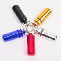 100PCS/LOT Key holder Aluminum Waterproof Pill Shaped Box Bottle Holder Container Keychain medicine Keyring keychain box