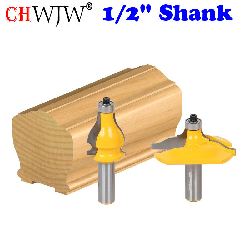 "2 Bit Handrail Router Bit Set - Classical Ogee/Bead - 1/2"" Shank Woodworking cutter Tenon Cutter for Woodworking Tools"