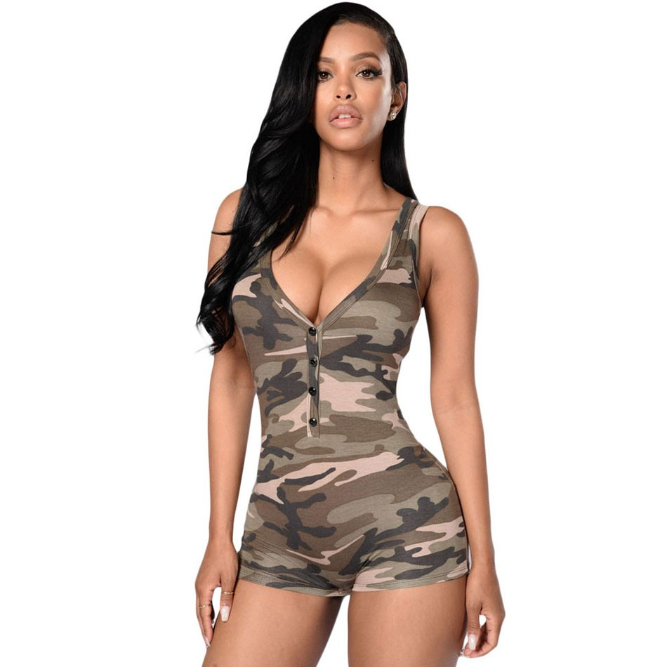 2016 Hot Camouflage print Women bodysuit Sexy V Neck Bodycon jumpsuit button Summer Rompers overalls combinaison femme short (1)