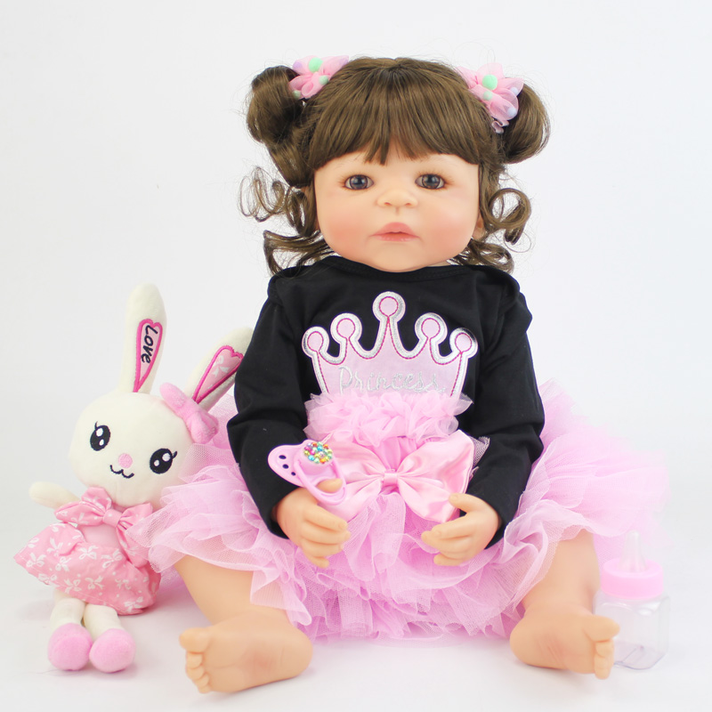 55cm Full Silicone Body Reborn Baby Doll With Rabbit Toy Vinyl Newborn <font><b>Princess</b></font> <font><b>Toddler</b></font> Alive Babies Bebe Girl Birthday Gift image