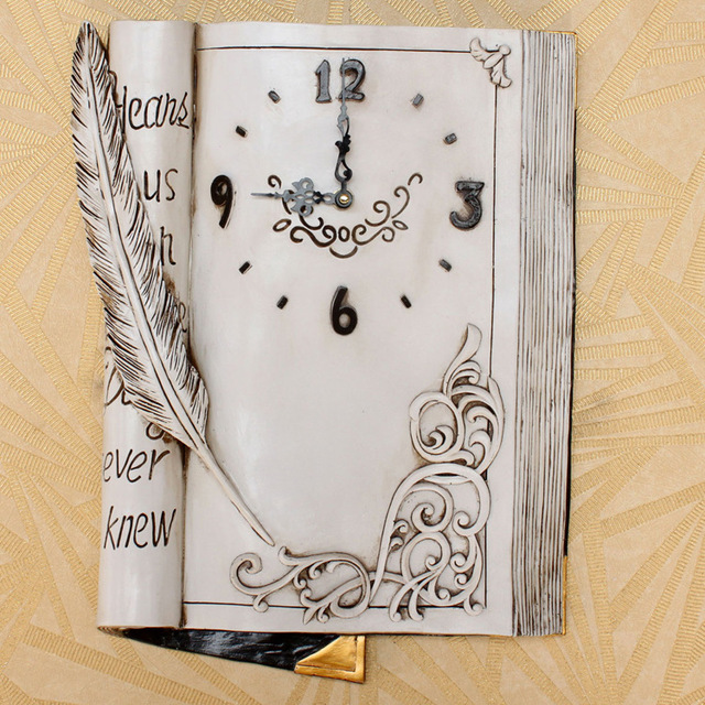 Creative Book Sculpture Wall Clock Living Room And Bedroom European IKEA Ultra Quiet Square Resin