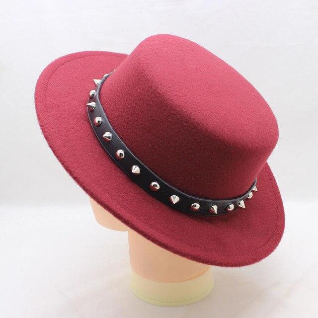 BING YUAN HAO XUAN vino tinto lana ala ancha Bowler Trilby Fedora sombrero  para las mujeres Plain señora plana sombreros de fieltro vintage Europea  ee.uu. dda1de56bf8