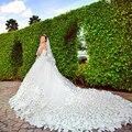 Venda quente de Luxo Tule Macio Feito À Mão Flor Querida Contas de Cristal 1.5 m Vestidos de Casamento Royal Train Tamanho Personalizado 2017