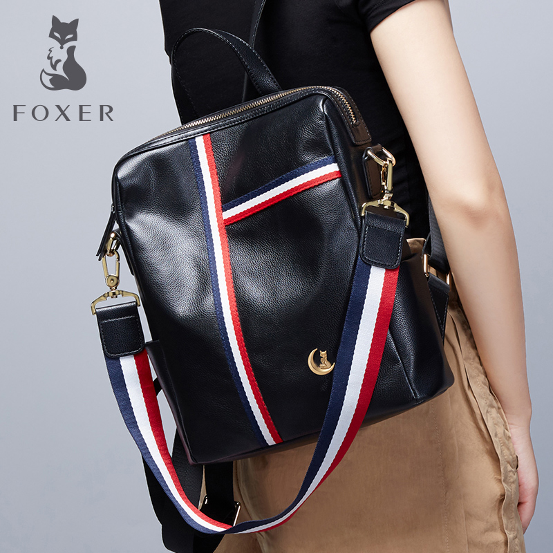 FOXER Backpack Female Women Genuine Leather Backpack Fashion Casual Backpacks for Girls Tourist Backpack For Ladies & Girl 2018 women s leather backpack monster fashion ladies schoolbag for teenager girls female cute backpack preppy casual backpack