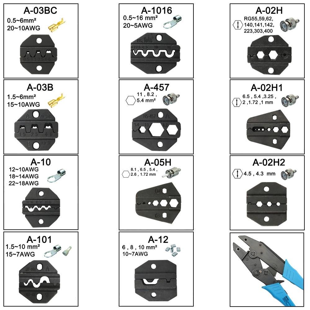 A05H A02H2 A12 A02H Die Sets For HS HS-05H FSE-05H AM-10 EM-6B1 EM-6B2 CRIMPING PILER Crimping Machine One Set Modules Jaws