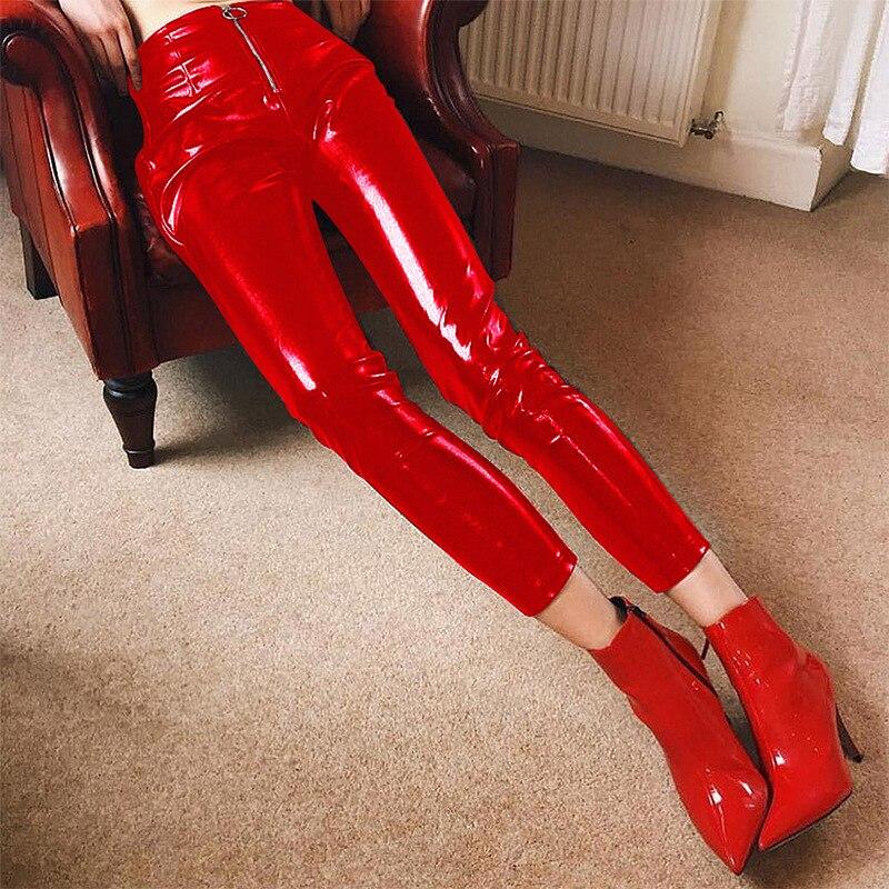 caqui Rushed Ajustados Mujer Flaca Cuero Pantalones Alto Charol Especial Cremallera rojo Oferta Salvaje Lápiz Pu Negro Imitación 2018 Mosca Vadim Sólido 5Hwdgq6xwc