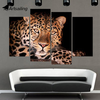 4 Panel Canvas Art Canvas Painting Leopard Spotted Hunting HD Printed Wall Art Poster Home Decor