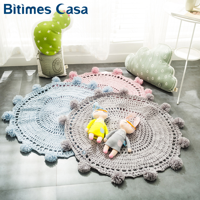Solid Color Indoor Floor Blanket For Bedroom Living Room Knitted 100 Acrylic Non toxic Seat Cushion