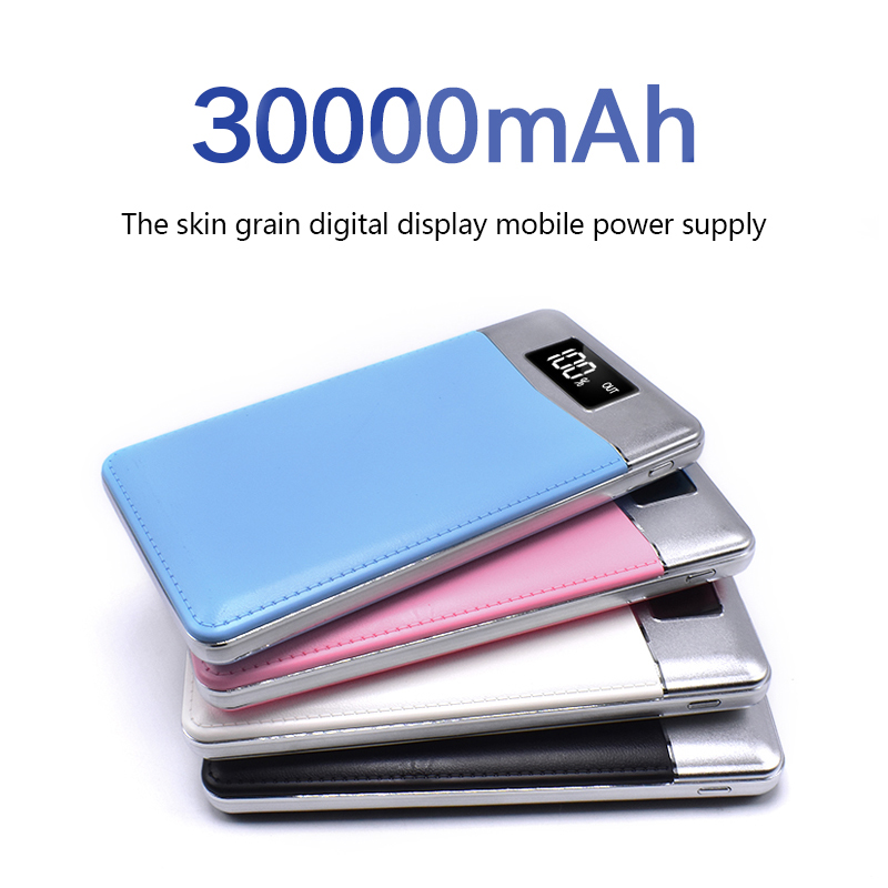 Quick Charge Power Bank 30000mAh 2 USB LCD Portable External Battery Mobile Phone Charger Power Bank for iPhone X Samsung Note