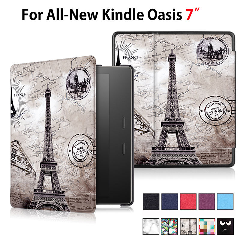 Case For All-New Kindle Oasis E-reader 7 Smart Cover Stand Auto Sleep Painted Print Flip PU Leather Funda Skin Shell e reader case for onyx boox 601 3g case cover coque shell funda hulle custodie