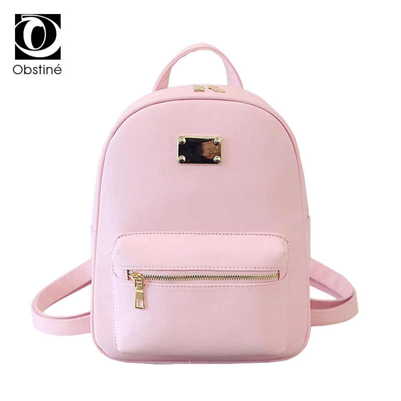3e9aea31ec62 Fashion PU Leather Backpacks Teenage Girls Small Backpack Women School Bag  with Zipper Pink Back Pack