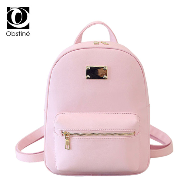 Fashion PU Leather Backpacks Teenage Girls Small Backpack Women School Bag  with Zipper Pink Back Pack f21e16770d699
