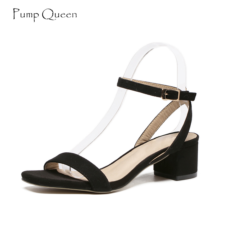 PumpQueen Sandals Women Purple Summer Ladies Shoes Woman Block Heels Pig Leather Insole Ankle Strap Zapatos Sandalias Mujer 2018 цена