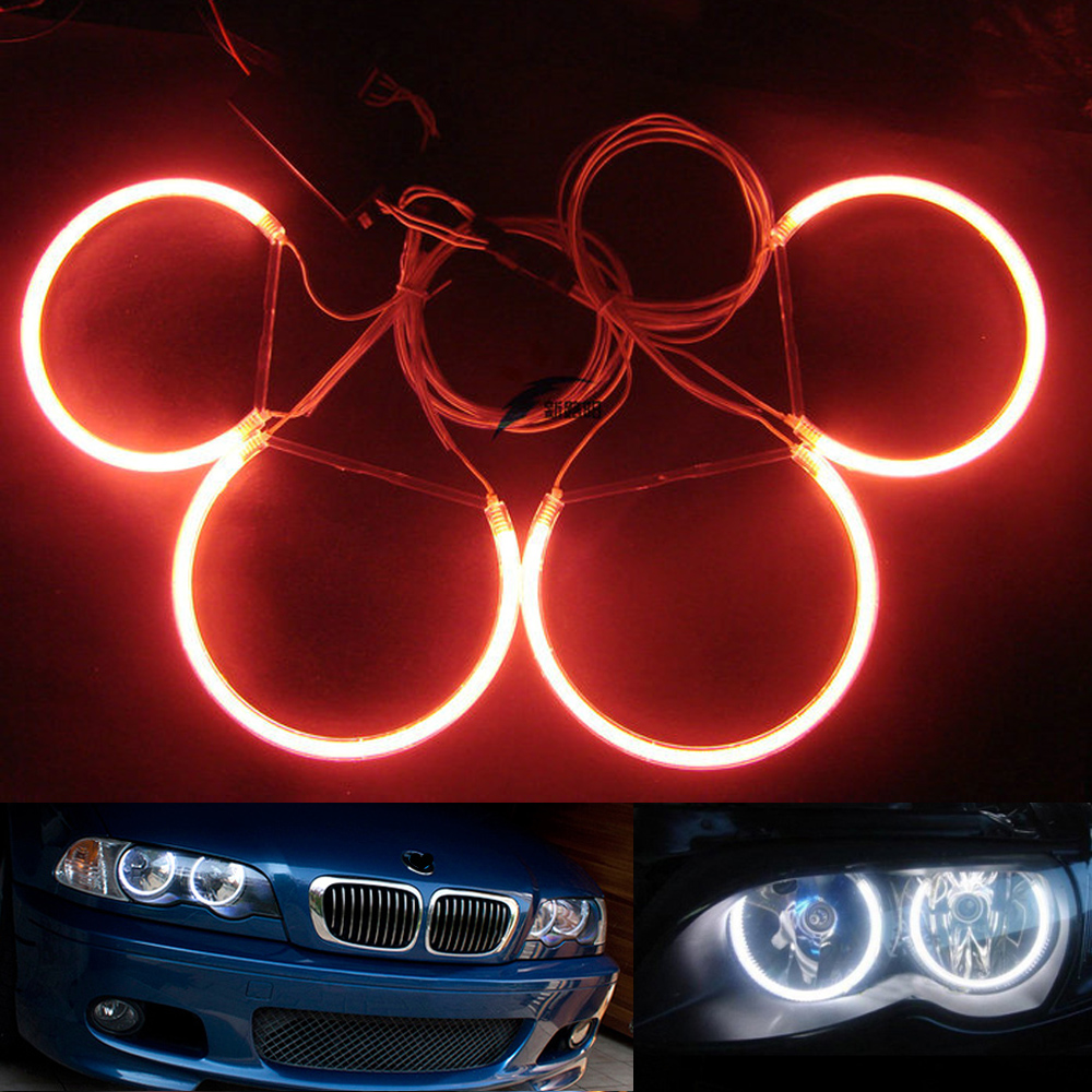 все цены на 4x131mm White Blue Red Car CCFL Halo Rings Angel Eyes Headlights for BMW E46,E36,E39,E38 3 5 7 series Light Kits