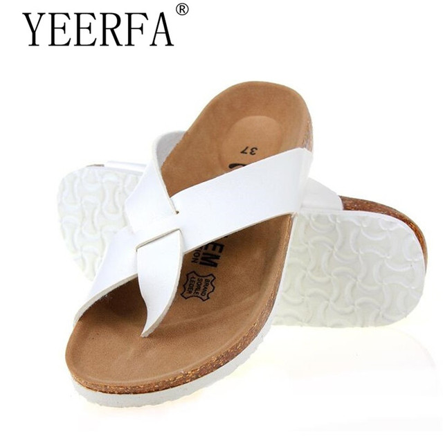 6de5934676b4 YEERFA New 2019 Fashion Men Slippers Mixed Color Summer Beach Sandals Lovers  Buckle Slides Cork Shoes Slides Plus Size 6 Color