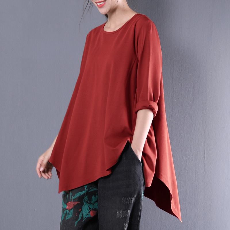 2018 Autumn Women Shirts Full Sleeve Asymmetric Hem Blouse O-neck Casual Ladies Tops Solid Color Blusas Pullovers Plus Size