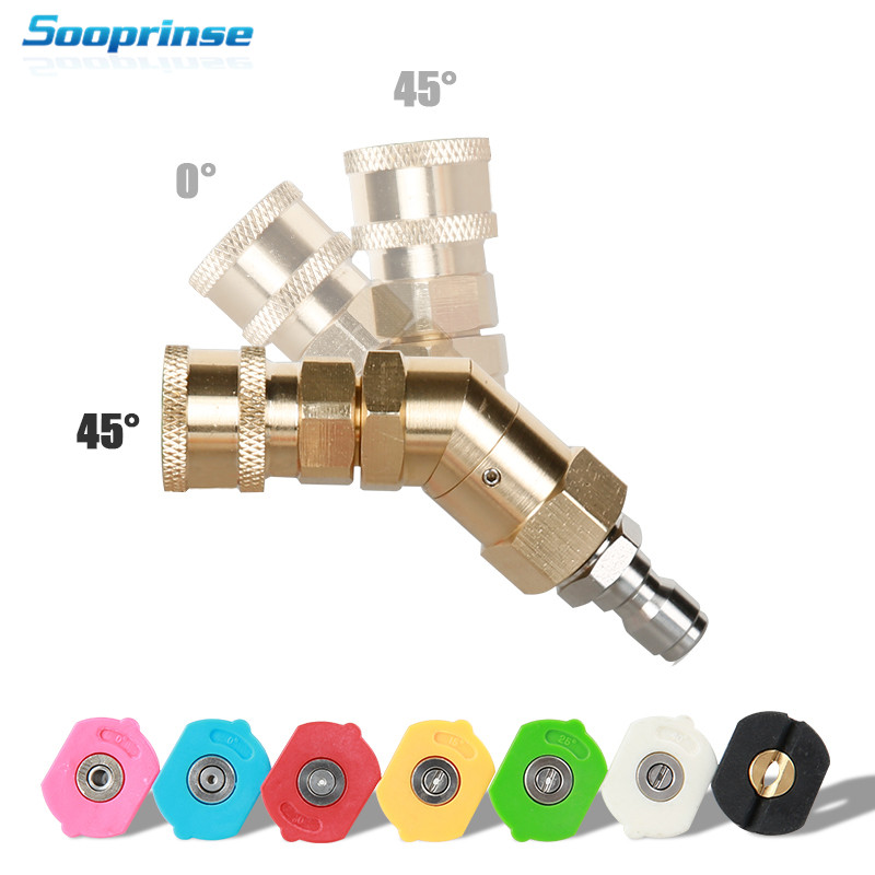 Car Washer Spray Nozzle Tips Multiple Degrees,1/4 inch Quick Connector 5 Packs 3.0 GPM Pivoting Coupler and 7 Spray Nozzle Tips