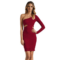 High Quality 2016 New Women Vintage Lace Dresses Sexy Aysmmetrical Neck One Shoulder Long Sleeve Red