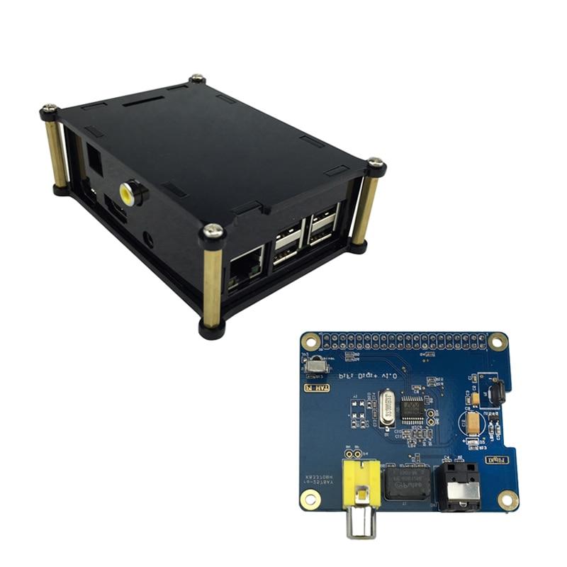 Raspberry Pi 3 HIFI DiGi+ Digital Sound Card Board I2S SPDIF + Black Acrylic Case For Raspberry Pi 2 Model B / B+ raspberry pi 3 digital sound card hifi digi expansion board i2s spdif module acrylic case for raspberry pi 2 for raspberry pi b
