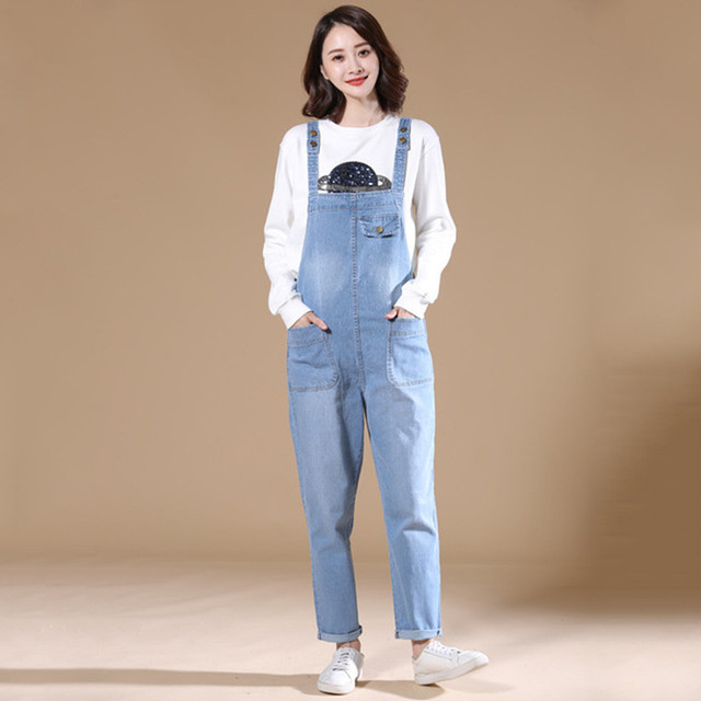 36cefe4a2ee Mori Girl Bib jean Pants Big size Harem Denim overalls Jumpsuits Female  jeans Pantalon mujer Suspenders Wide Leg Rompers AC32