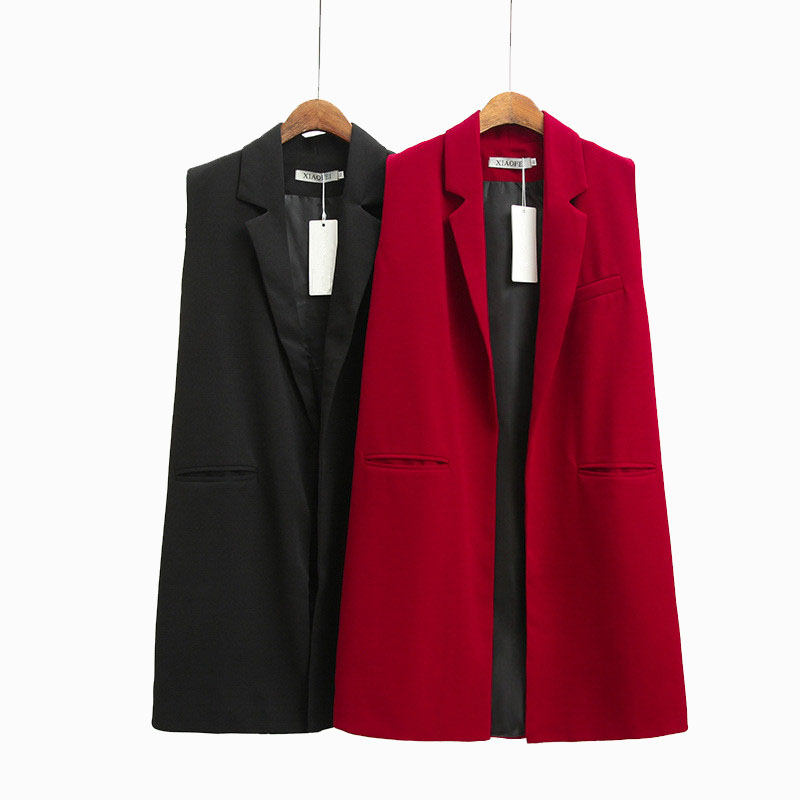 Spring Solid Long Vest For Women Sleeveless Jacket Office Lady Plus Size Waistcoat Red Female Cardigan Elegant Black Coat Autumn