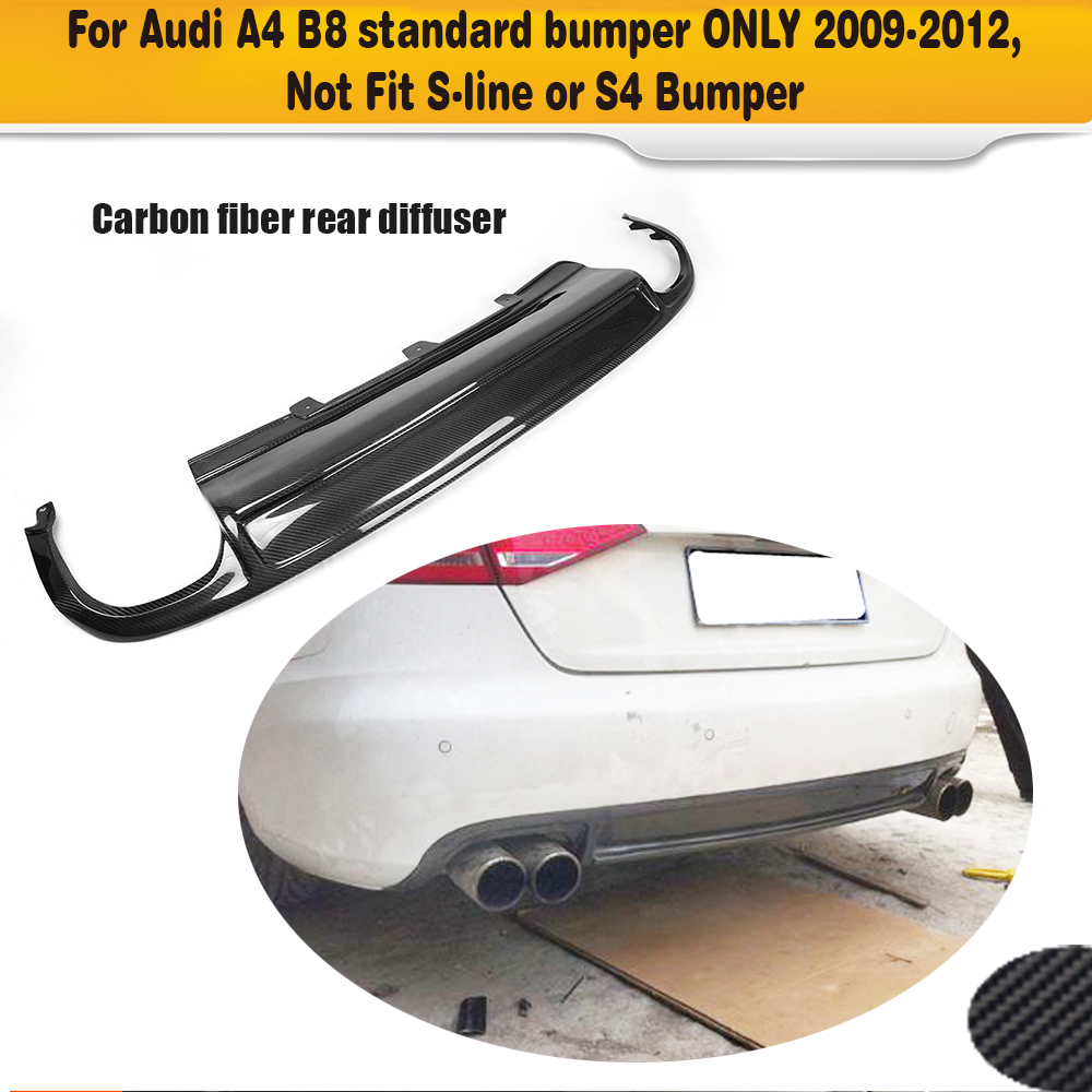 Carbon Fiber Car Rear bumper lip Spoiler diffuser With Exhaust For Audi A4 B8 Standard Sedan Only 09-12 Four outlet Black PU carbon fiber nism style hood lip bonnet lip attachement valance accessories parts for nissan skyline r32 gtr gts
