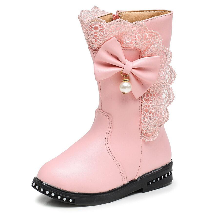 Winter Kids Boots Girls Boots Fashion Bow Sweet With Leather Ankle Length And Rubber Snow Children Boot Girls
