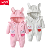 IYEAL Princess Baby Girls Rompers Infant Toddler Kids Hoodies Cute Rabbit Jumpsuit Long Sleeve Outfit Autumn Cotton Baby Clothes