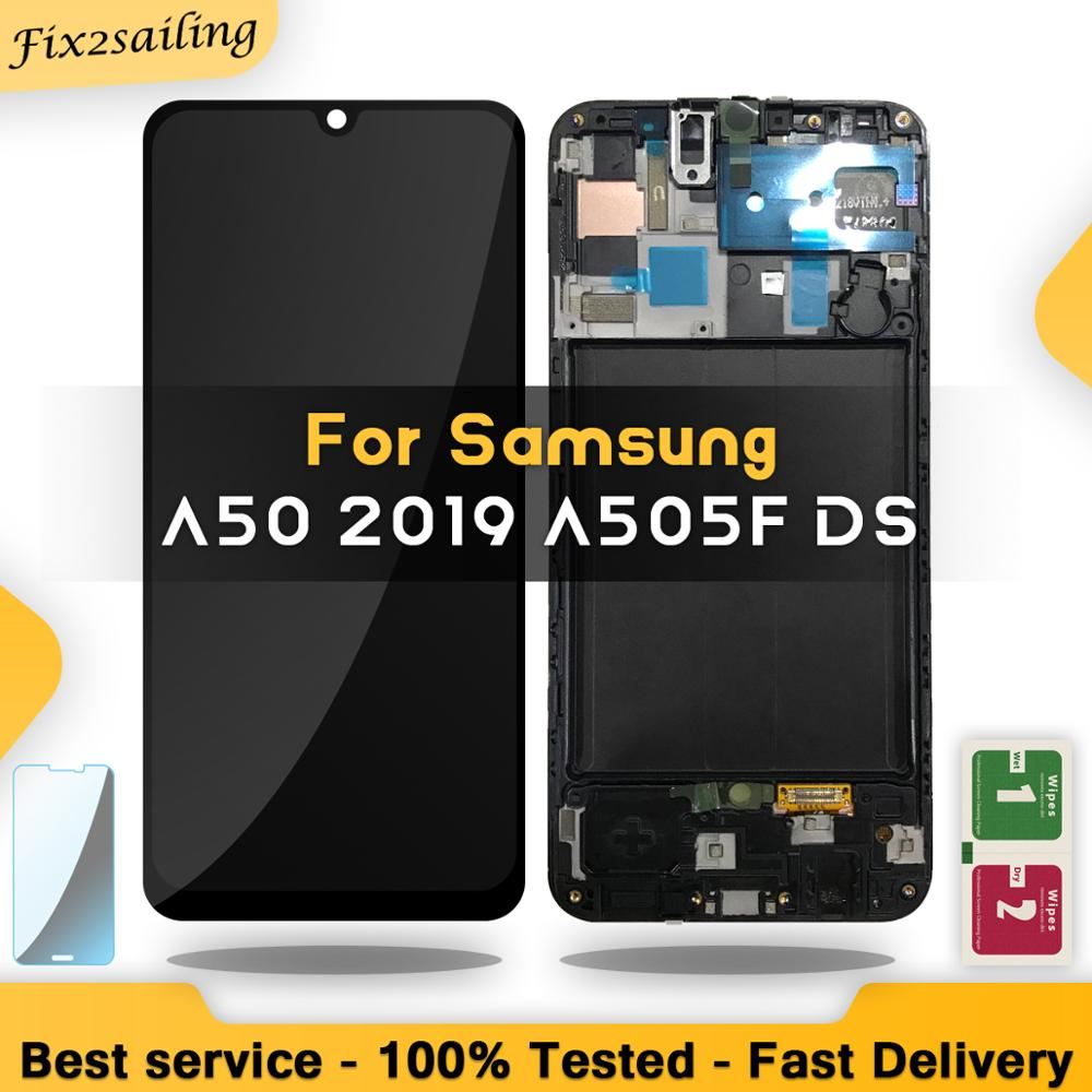 Super AMOLED LCD For Samsung Galaxy A50 2019 A505F/DS A505F A505FD A505A Touch Screen Digitizer Assembly With Frame