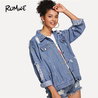 ROMWE Ripped Button Front Denim Jacket Spring Single Breasted Coats And Jackets Bravissimo Blue Swish Women Green Jacket