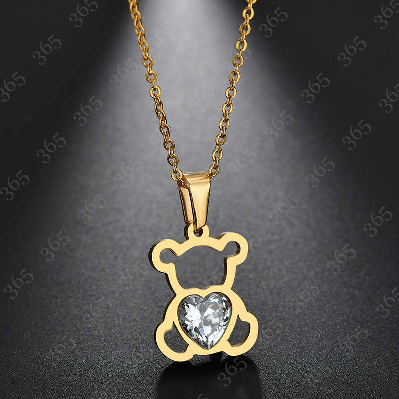 2018 New Trendy Heart CZ Stone Bear Necklace For Women