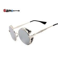 Samjune Retro Steampunk Sunglasses For Women Men, Vintage Round Metal Punk Mirror Sun Glasses oculos de sol feminino