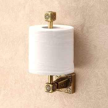 Solid brass Bathroom Art Carved Toilet Paper Holder Wall mounted  antique Roll paper holder Bathroom accessories