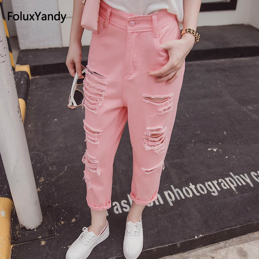 Casual Hole Jeans Women Loose Plus Size High Waist Ripped Denim Jeans Pink White MYNZ54