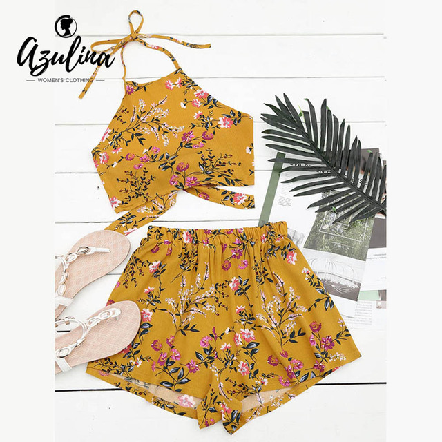 AZULINA 2017 Summer Beach Suits 2 Two Piece Set Women Floral Print Halter Crop Top with Shorts Sexy Back Tied Top Women's Set