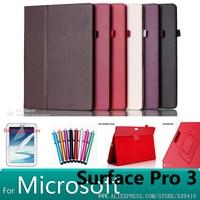 Nieuwe case voor microsoft surface pro 3 litchi lederen case cover voor microsoft surface pro 3 12 inch tablet case