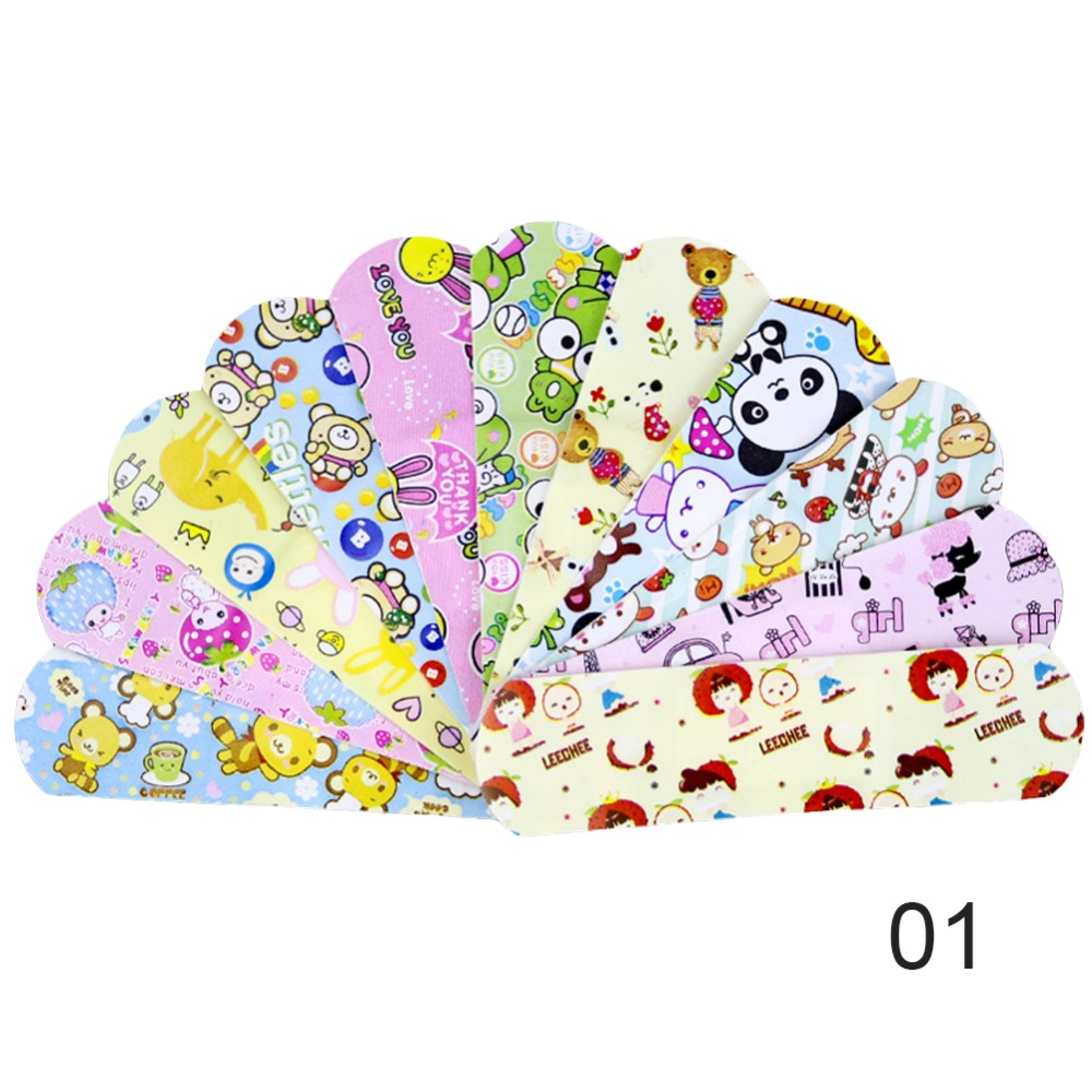 Image 5 - 100PCS Waterproof Breathable PE Cute Cartoon Band Aids Adhesive Bandages Wound Dressing First Aid Stickers For Children Kids-in Emergency Kits from Security & Protection