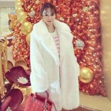Лидер продаж, зимнее женское пальто из искусственного меха норки с длинными рукавами, пальто с отложным воротником, Толстая теплая верхняя одежда из искусственного меха, XHSD-180