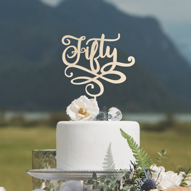 50th Birthday Cake Topper Wooden Rustic Fifty Anniversary Wedding 50 Happy Party Decoration