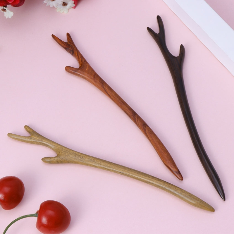 Ebony Hairpin Chinese Style Retro Hair Stick Antler Natural Wood Jewelry Vintage Exquisite Hair Accessories 3