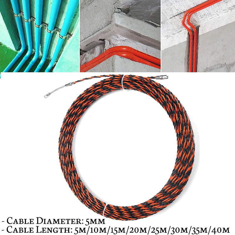 Strict 5/10/15m Guide Device Fiberglass Electric Cable Push Pullers Duct Snake Rodder Fish Tape Wire Mayitr Withe 2 Pcs Cable Tensioner Diversified Latest Designs Wiring Accessories Electrical Equipments & Supplies