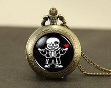 Reloj de bolsillo del Steampunk Undertale Sans 2 Juego Videojuegos del Juego Collar vintage 1 unids/lote joyería Colgante De plata nueva cadena para hombre de bronce