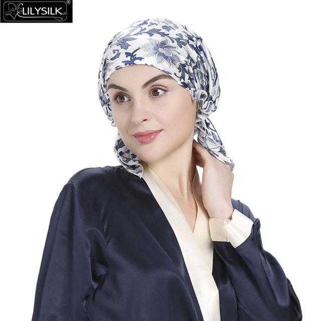 Lilysilk 100% Gorro de Dormir de Seda de Mujer de Marca Sombreros Baño Lujos cintas de Impresión Floral 19 Momme Azul Blanco Elegante Cuidado Del Cabello noche