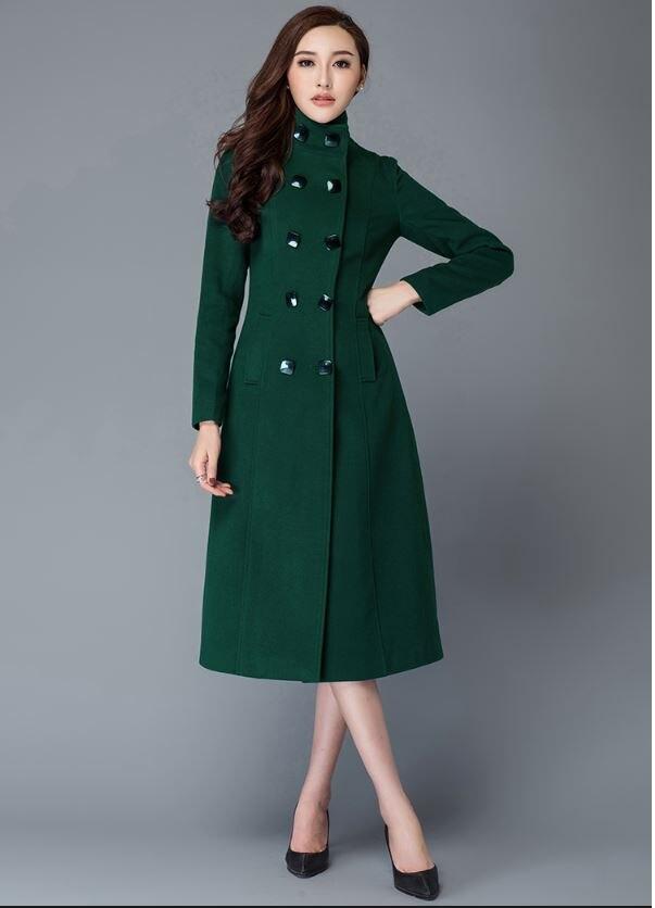 Marque De Outwear Mode Black green Européenne Cachemire Manteau Chaud Femmes Veste Conception Long D'hiver Laine rTr71qBwxC