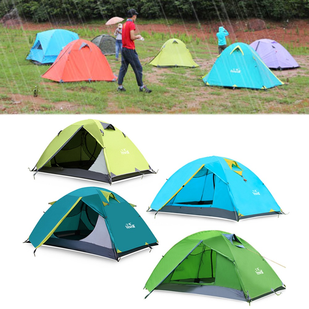 Free Shipping 2 Person Camping Tents Double Layer Waterproof Windproof Outdoor Tent For Hiking Fishing Hunting Beach Picnic outdoor double layer camping tent family tent 3 person beach garden picnic fishing hiking travel use