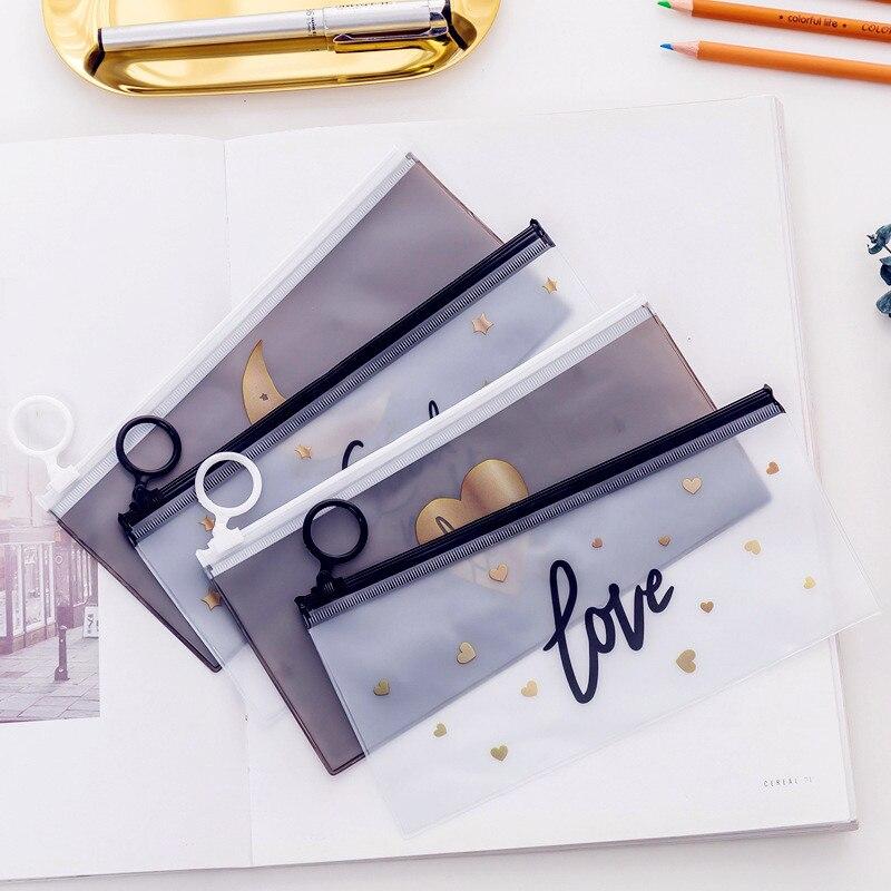 Cute Transparent Pencil Case For Girls Kawaii Stars PVC School Pencil Bag Stationery Pouch Office Supplies Escolar Pencil Box