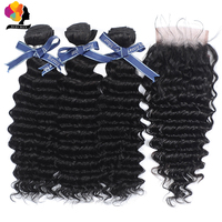 Brazilian Deep Wave Bundles With Closure Natural Black Color Human Hair Weaves With Closure 100 Remy Hair 3 Bundles With Closure