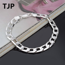 TJP 6MM 8MM 10MM 12MM Figaro Chain Jewelry Popular 925 Sterling Silver Bracelets For Women Party Gold Men Bangles Accessories