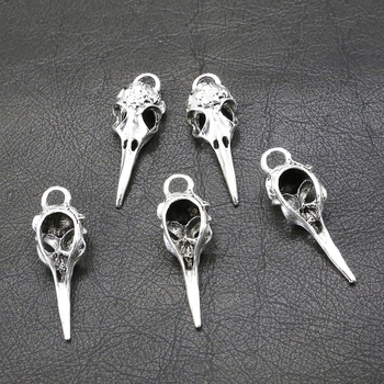 5 sztuk/partia srebrna kolorowa czaszka ptak Charms do tworzenia biżuterii zestaw do robienia bransoletek urok biżuteria akcesoria ze stopów 41*13mm